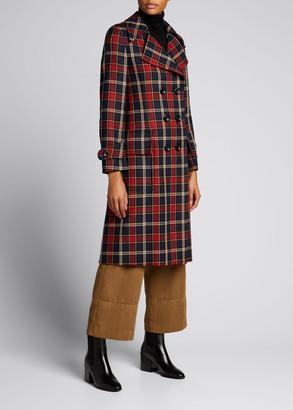 Dries Van Noten Plaid Double-Breasted Wool Coat