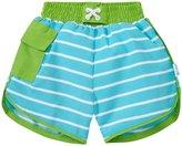 I Play Board Shorts With Built-in Swim Diaper (Toddler/Kid) - Aqua Stripe - 4T