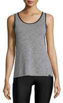 Koral Activewear Jump Layered Tank Top, Heather Gray/Black
