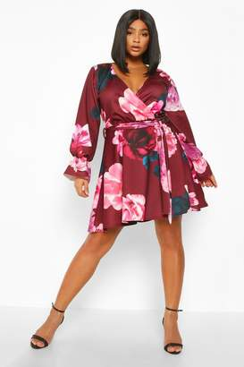 boohoo Plus Floral Wrap Tie Waist Skater Dress