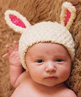 Jean Marie Pink & White Baby Lamb Crochet Beanie - Infant