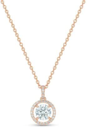 De Beers 18kt rose gold Aura round brilliant diamond pendant necklace