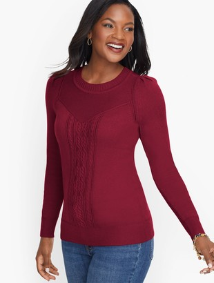 Talbots Cableknit Detail Pointelle Sweater
