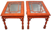 One Kings Lane Vintage Chippendale-Style Side Tables - Set of 2 - Acquisitions Gallerie - red/brown