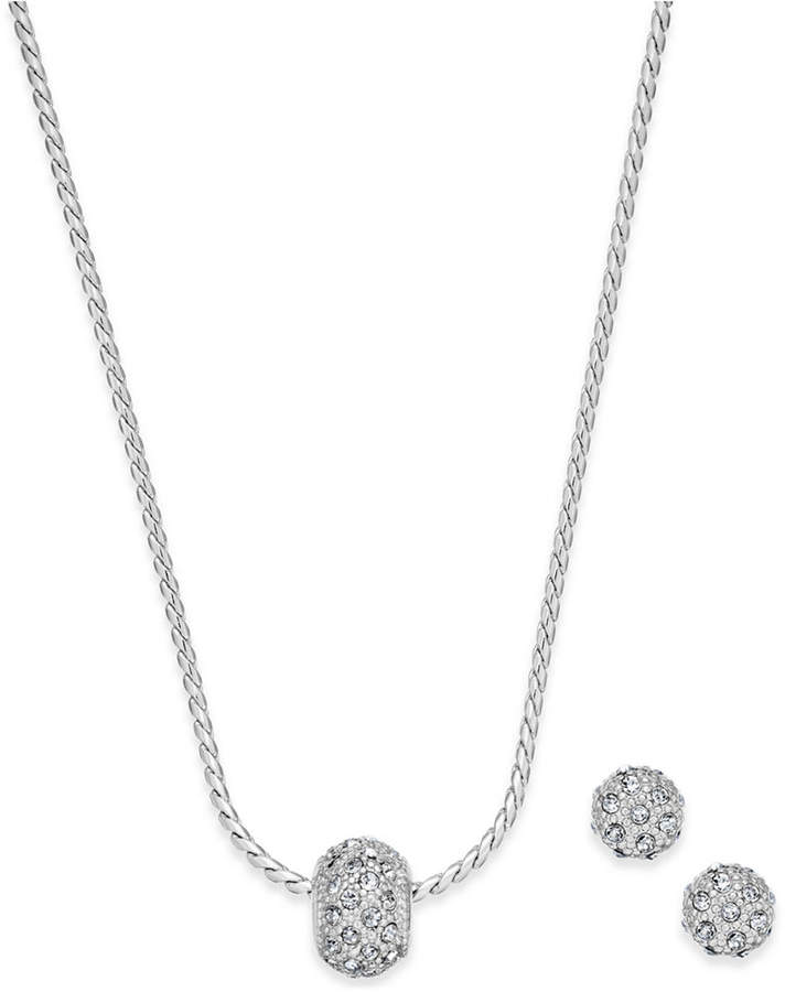 Charter Club Pave Ball Pendant Necklace and Stud Earrings Set