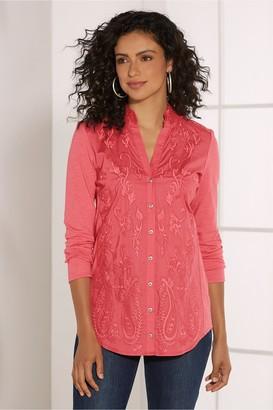 Soft Surroundings Women Primavera Embroidered Shirt