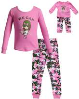 "Dollie & Me Girls 4-14 We Can"" Girl Camouflaged Top & Bottoms Pajama Set"