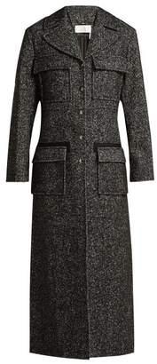 Chloé Tweed Wool Blend Single Breasted Coat - Womens - Grey