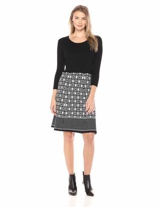 Sandra Darren Women's 1 PC 3/4 Sleeve Scoop Neck Fit & Flare Sweater Dress