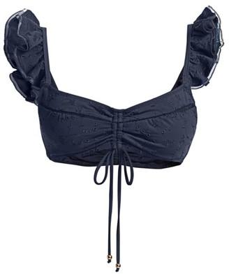 Jonathan Simkhai Midnight Ruffled Tie Bikini Top