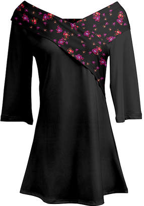 Lily Women's Tunics PRP - Purple & Orange Floral Crossover-Collar Tunic - Women & Plus