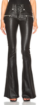 Unravel Lace Front Flare Leather Pants in Black.