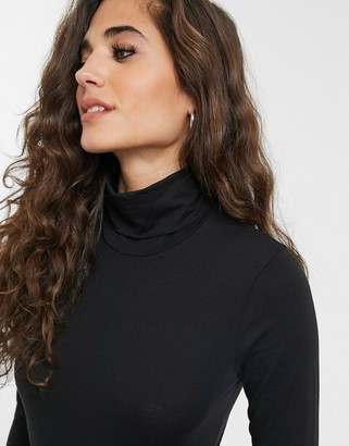 Weekday Chie flat jersey turtle neck top in black