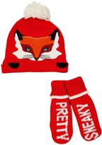 Kate Spade Pretty Sneaky Hat & Mitten Set (Toddler)- Fairytale Red-3T