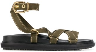 Marni cross-strap canvas sandals