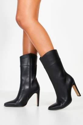 boohoo Calf High Flat Heel Boots