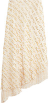 Tibi Asymmetric Metallic Fil Coupé Silk-blend Midi Skirt - Off-white