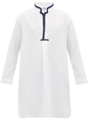 P. Le Moult - Notched-neck Cotton-herringbone Pyjama Kaftan - Mens - White