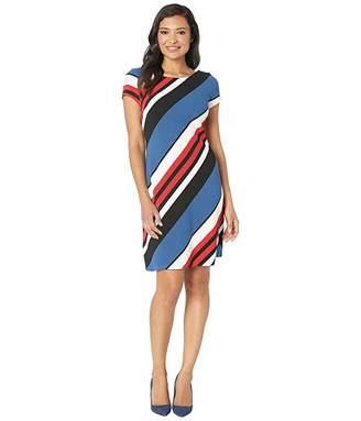 Adrianna Papell Diagonal Striped Ottoman A-Line Dress