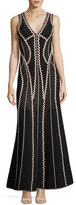 Herve Leger Lineisey Zigzag Pointelle Mermaid Gown, Black/Bare Pink