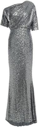 Badgley Mischka One-shoulder Draped Sequined Tulle Gown