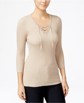 Hooked Up by IOT Juniors' Lace-Up Ribbed Sweater