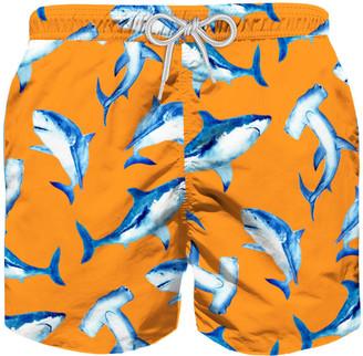 MC2 Saint Barth Shark Print Boys Light Swim Trunks