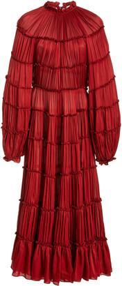 Zimmermann Silk Tiered Midi Dress