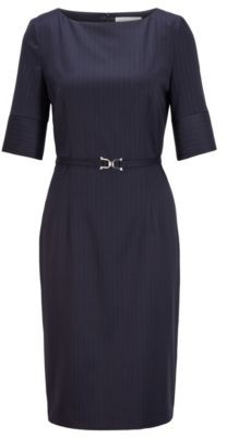 HUGO BOSS Pinstripe dress in stretch virgin wool with belt detail