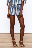Sage Blue Stripe Print Shorts