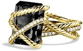 David Yurman Cable Wrap Ring with Black Onyx & Diamonds in Gold