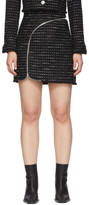 Alexander Wang Black and White Tweed Zipper Miniskirt