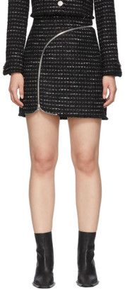 Alexander Wang Black and White Tweed Zipper Miniskirt