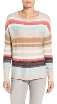 Caslon Back Button Stripe Knit Sweater (Regular & Petite)