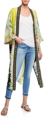 Johnny Was Tawney Long Printed Silk Kimono