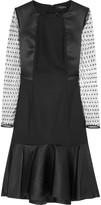 Etro Swiss-dot wool-blend and satin dress