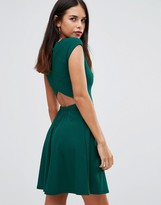 Club L Ribbed Cross Back Skater Dress
