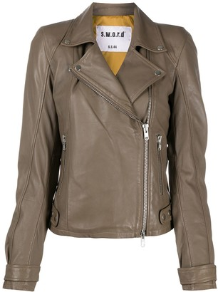 S.W.O.R.D 6.6.44 Off-Center Zip Biker Jacket