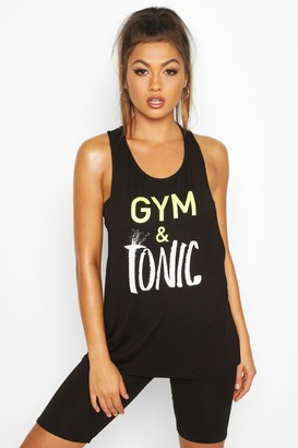boohoo Fit Gym & Tonic Slogan Tank Top