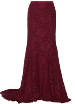 Oscar de la Renta Cotton-blend Lace Maxi Skirt - Burgundy