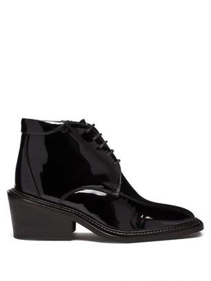 Martine Rose Vin Square-toe Patent-leather Boots - Black