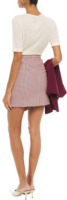 Paper London Ten Wrap-effect Houndstooth Cotton-jacquard Mini Skirt