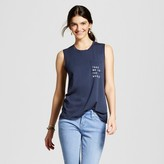 Zoe+Liv Women's Take Me To The Music Pocket Muscle Tank Navy Blue - Zoe+Liv (Juniors')