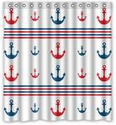 Fashion Custom Sailor Spirit Nautical Chevron Anchor Pattern Print Waterproof Polyester Fabric Shower Curtain 66 x 72