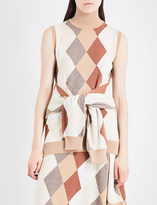 Pringle Sleeveless argyle waffle-knit cashmere top