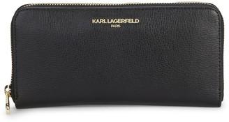 Karl Lagerfeld Paris Zip-Around Continental Leather Wallet