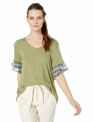 One World ONEWORLD Women's Ruffle Chiffon Sleeve Top with Necklace