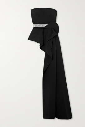 Safiyaa Hermosa Belted Draped Asymmetric Crepe Top - Black