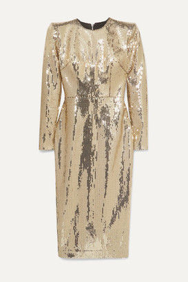 Alex Perry Williams Sequined Crepe Midi Dress - Gold