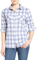 Caslon Classic Plaid Woven Cotton Shirt (Petite)